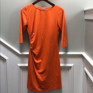 J.McLaughlin dress. Orange with gathered sides